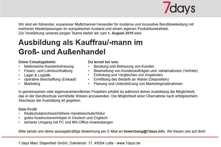 Stellenanzeige Ausbildung Kauffrau/-mann im Groß- und Außenhandel
